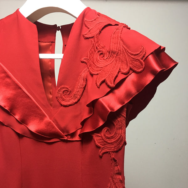 Cristina Pacini red haute Couture cocktail dress sz 2/4