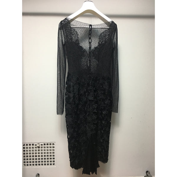 Cristina Pacini black long sleeve tulle and lace haute Couture cocktail dress sz 2/4