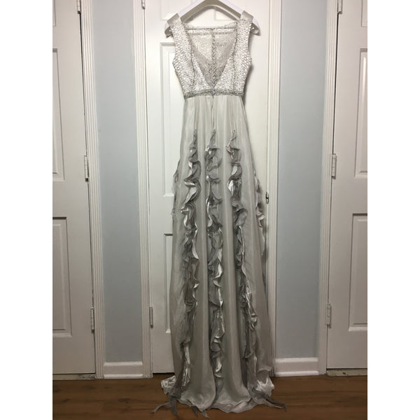 Cristina Pacini grey silk ruched haute Couture evening gown sz 2/4