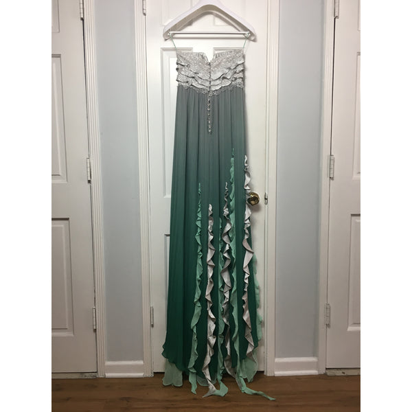 Cristina Pacini emerald and grey haute Couture evening gown with cape sz 2/4