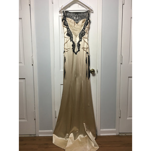 Cristina Pacini light gold silk & black lace haute Couture evening gown sz 2/4