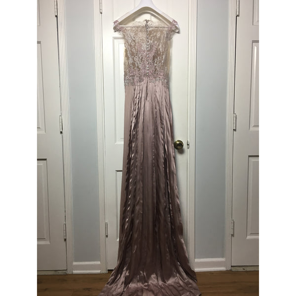 Cristina Pacini purple silk and lace haute Couture evening gown sz 2/4