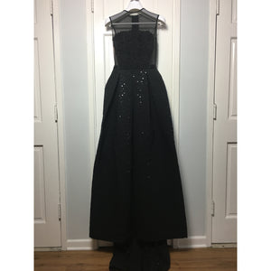 Cristina Pacini black embroidered haute Couture evening gown sz 2/4
