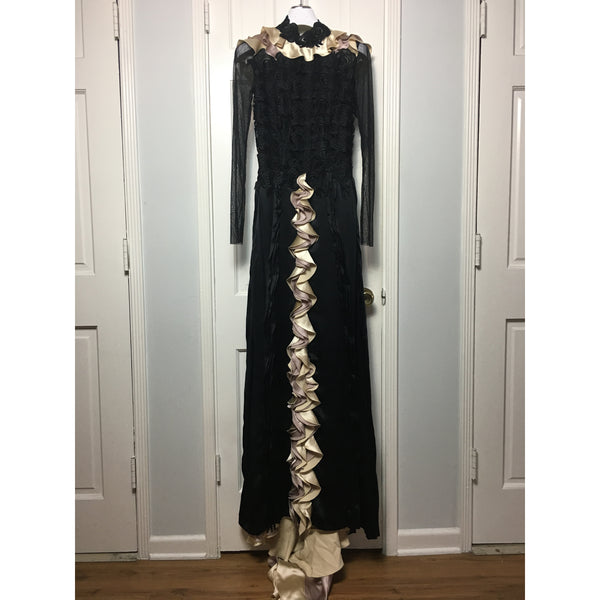 Cristina Pacini black silk long sleeve haute Couture evening gown sz 2/4
