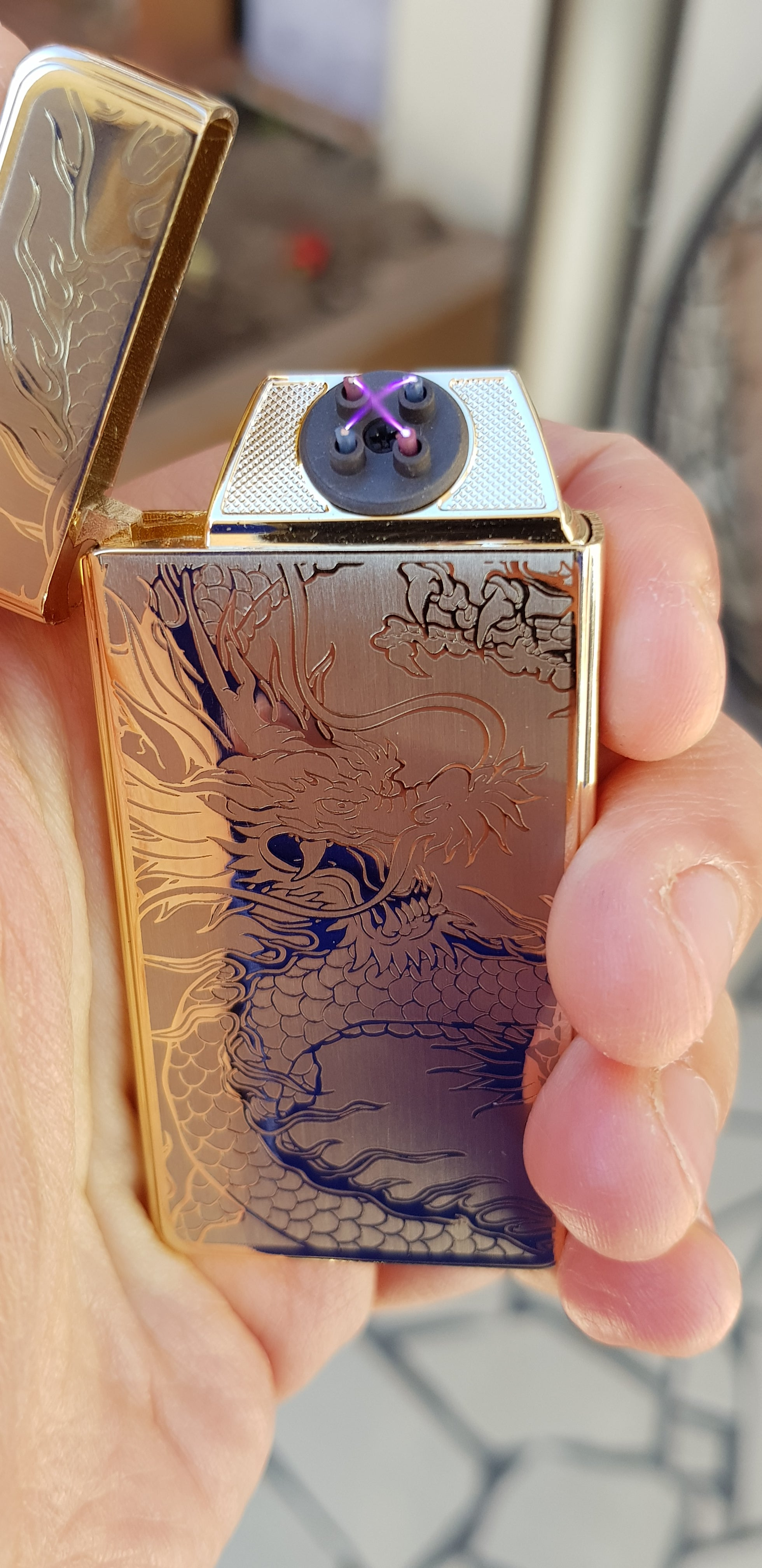 Gold Dragon Signature Dual Arc Lighter