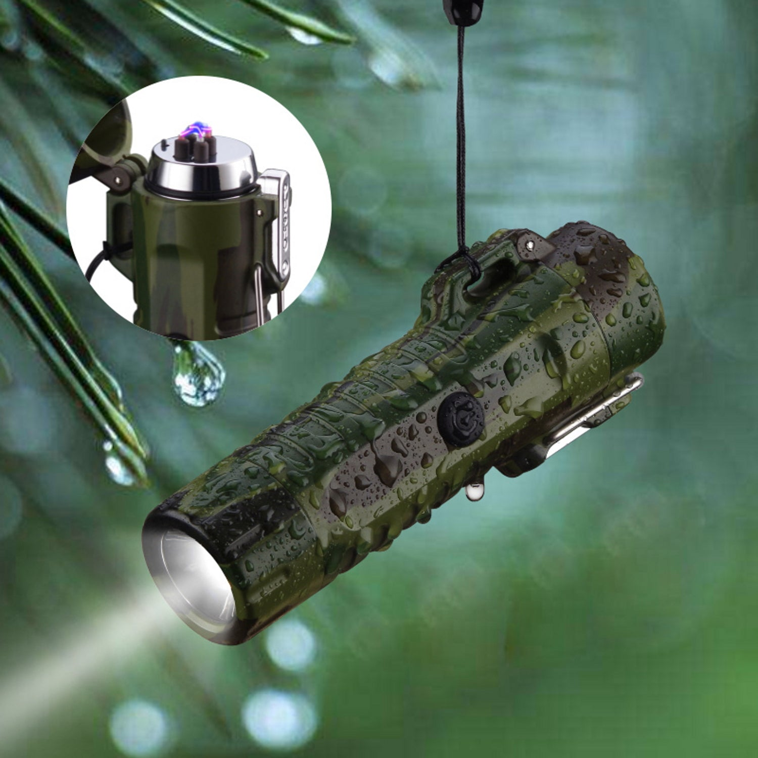 Camo Tactical Waterproof Dual Arc Lighter with LED Tri-Phase Flashlight