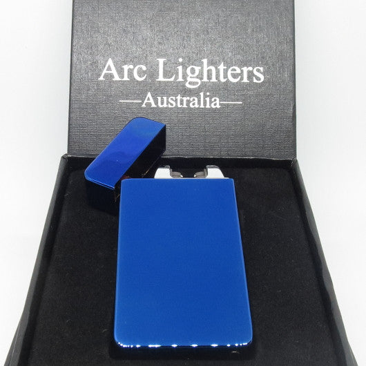 USB Rechargeable Electric Blue Dual Plasma Arc Lighter with Side Button