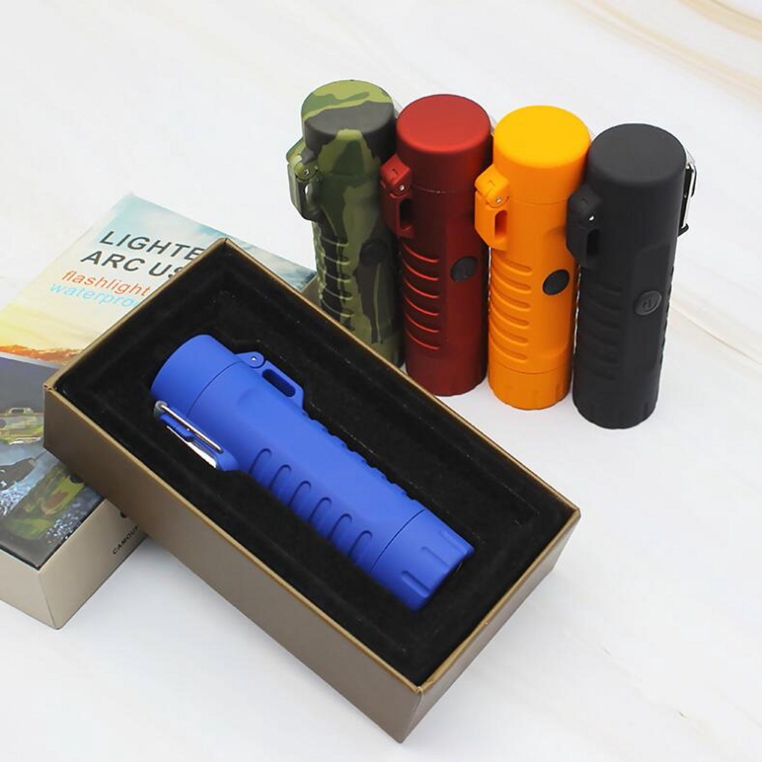 Orange Tactical Waterproof Dual Arc Lighter with LED Tri-Phase Flashlight