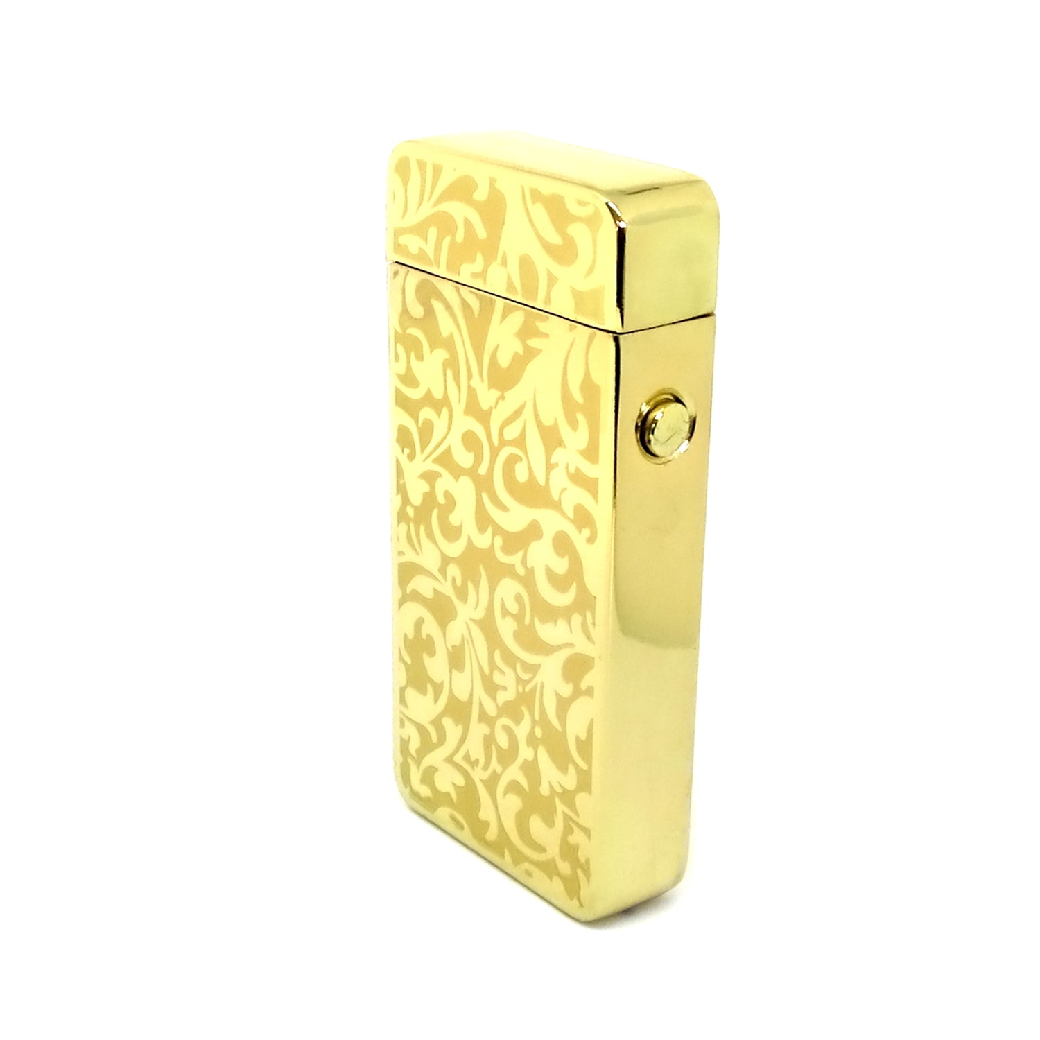 USB Rechargeable Gold Damask Dual Plasma Arc Lighter with Side Button