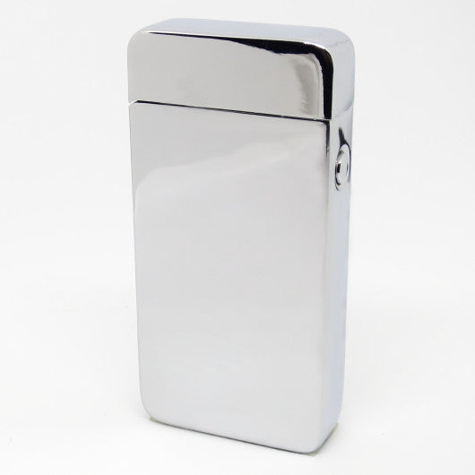 USB Rechargeable Ice Silver Chrome Dual Plasma Arc Lighter with Side Button