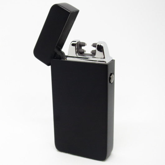 USB Rechargeable Matte Black Dual Plasma Arc Lighter with Side Button