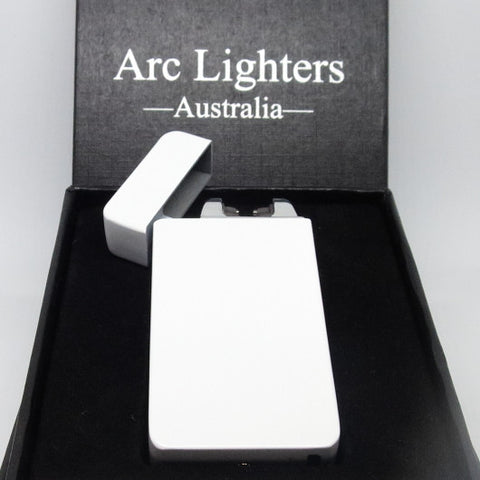 USB Rechargeable Matte White Dual Plasma Arc Lighter with Side Button