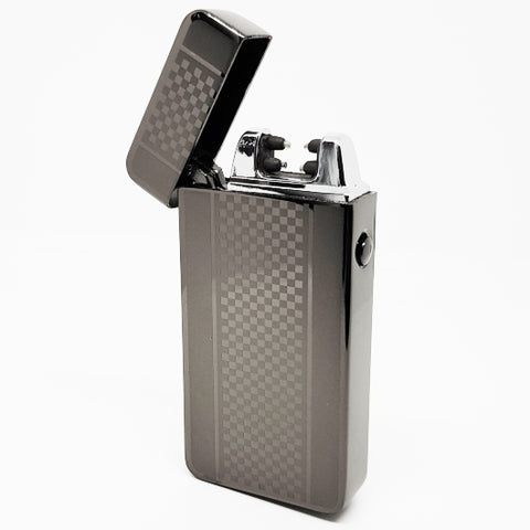 USB Rechargeable Pewter Chequered Dual Plasma Arc Lighter with Side Button