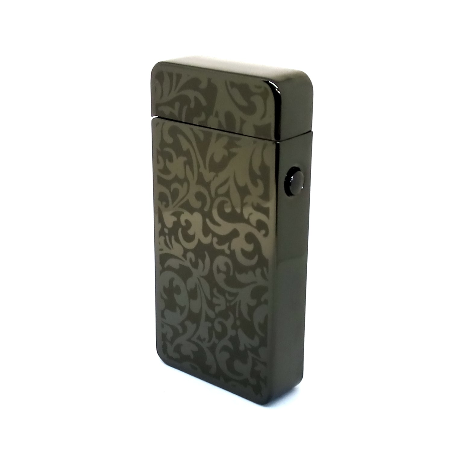 USB Rechargeable Pewter Damask Dual Plasma Arc Lighter with Side Button