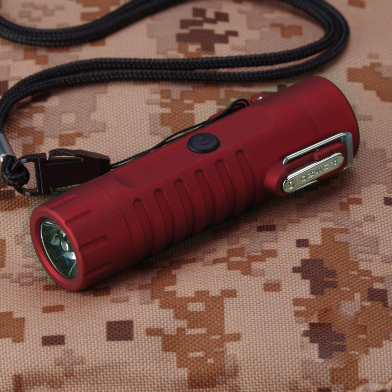 Red Tactical Waterproof Dual Arc Lighter with LED Tri-Phase Flashlight