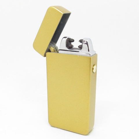 USB Rechargeable Satin Gold Dual Plasma Arc Lighter with Side Button