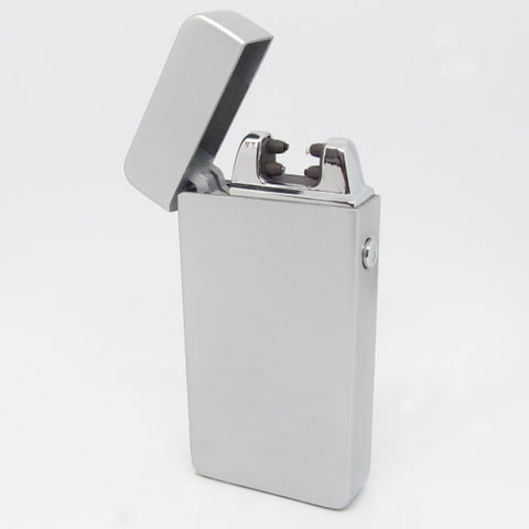 USB Rechargeable Satin Silver Dual Plasma Arc Lighter with Side Button