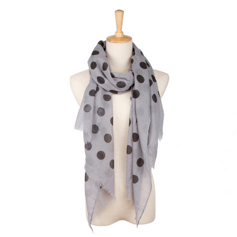 Scarf - Polka Dot Grey + Black