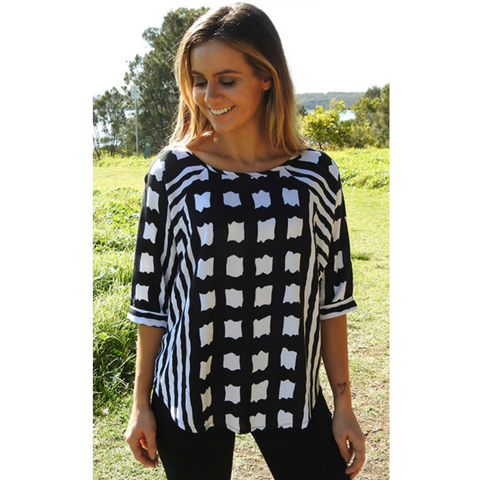 Black + White Abstract Top