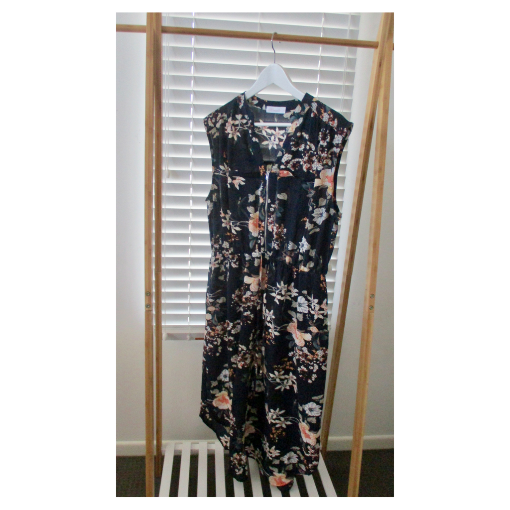 Black Floral Zip Dress
