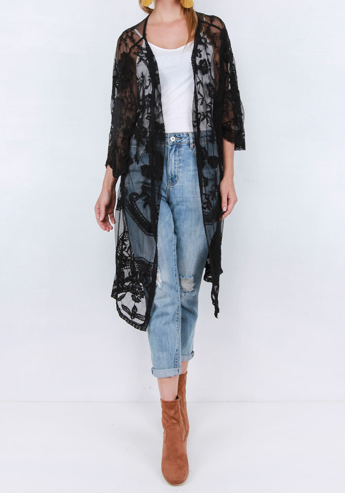 Boho Lace Cape - Black