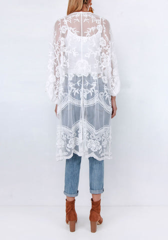Boho Lace Cape - White