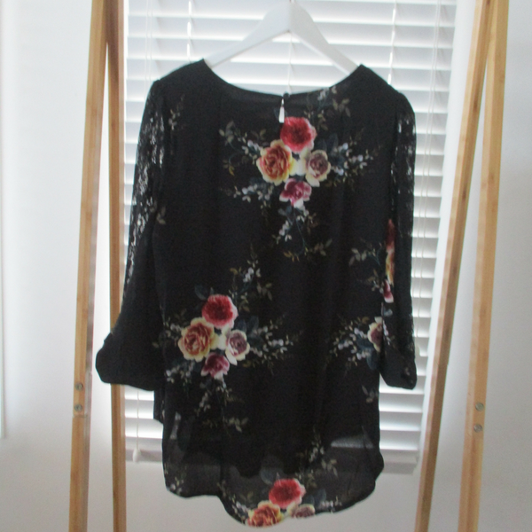 Black Floral Lace Top