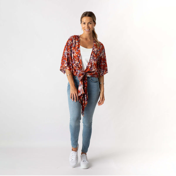 Rust and Rose Kimono Top