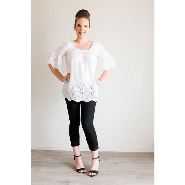 Scallop Top - White