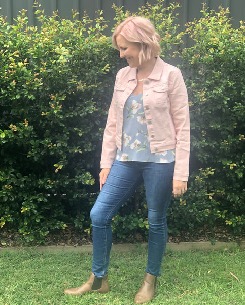 Pink cropped Denim Jacket