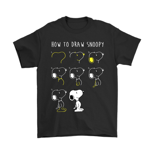 How To Draw Snoopy In 8 Easy Steps Snoopy Shirts