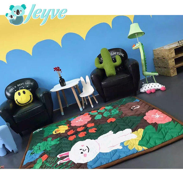 LINE Baby Cotton Anti-Slip Crawling Playmat (3cm thickness) - Jeyve.com