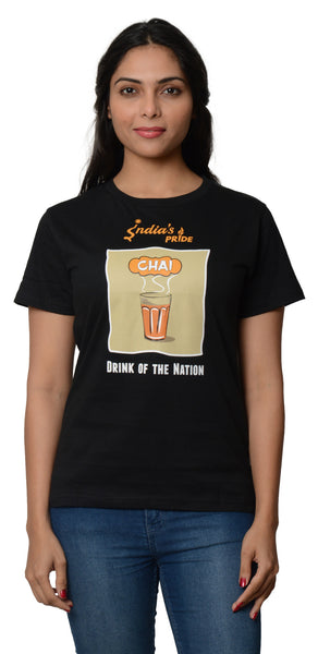 My Indian Dream Women's Inspirational T-Shirt(Chai) (Black)
