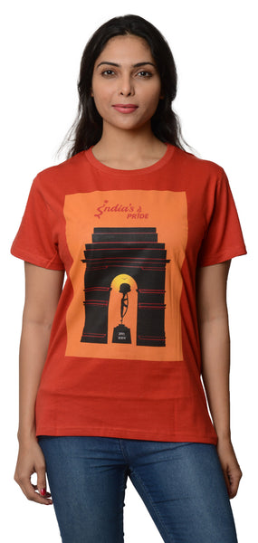 My Indian Dream Women's Inspirational T-Shirt(India Gate) (Red)