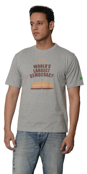 My Indian Dream Men's Inspirational T-Shirt(Democracy) (Grey)