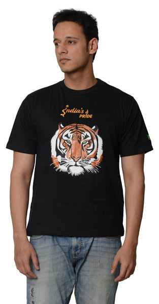 My Indian Dream Men's Inspirational T-Shirt(Tiger) (Black)