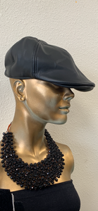 Black Faux Leather Paper Boy Cap
