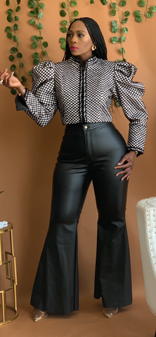 Faux Leather Bell Bottom Pants