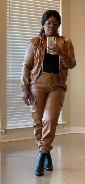 Smooth Cognac Faux Leather Hoodie Jogger Set