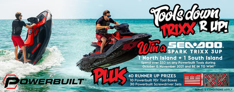 Powerbuilt tools summer promotion is here! October & November 2021 Be in to win 1 of 2 sea-doo 2021 spark trixx 3up. Spend over $50 on any powerbuilt tools during October & November 2021 and be in to win!