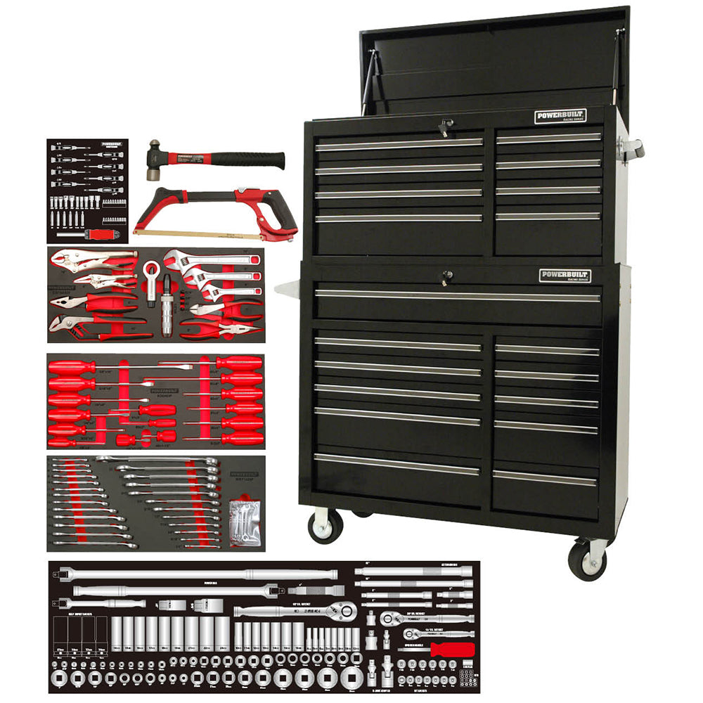 "POWERBUILT 254pc 41"" Tool Chest, Roller Cabinet & Assorted Tools"