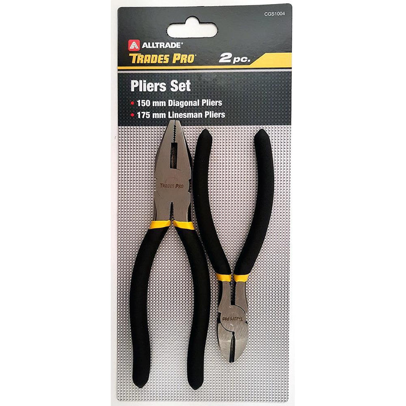 "Trades Pro 2Pc Pack 150Mm/6"" Diagonal & 175Mm/7"" Linesman Pliers"