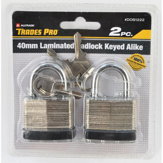 Trades Pro 2Pc 40Mm Padlock, Keyed Alike