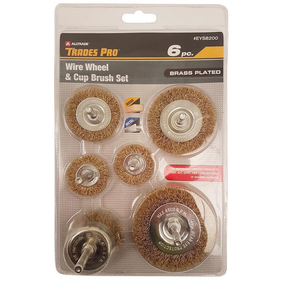 Trades Pro 6Pc Wire Wheel Cup Brush Set