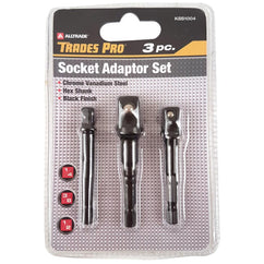 Trades Pro 3Pc 1/4, 3/8, 1/2 Socket Adaptor Set With Shank