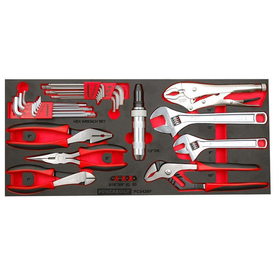Powerbuilt 31Pc Plier Hex & Adjustable Wrench Tray