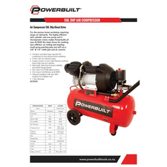 POWERBUILT Air Compressor 50L 3.0hp Direct Drive