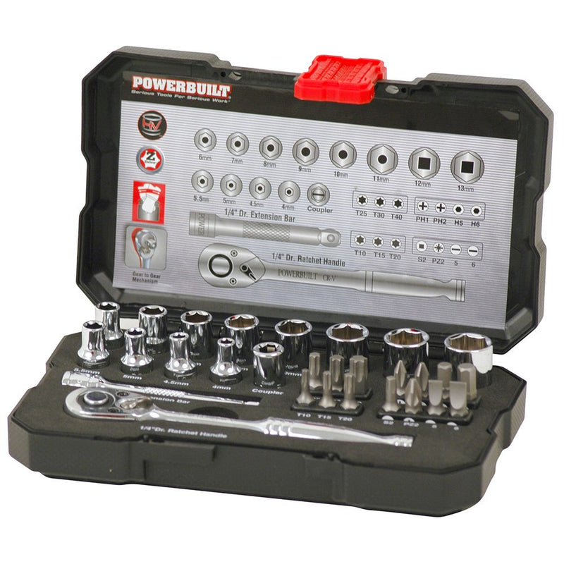 "POWERBUILT 1/4"" Dr 30pc Metric Socket Set-Socket Set-Powerbuilt-Herbos Equipment Limited"