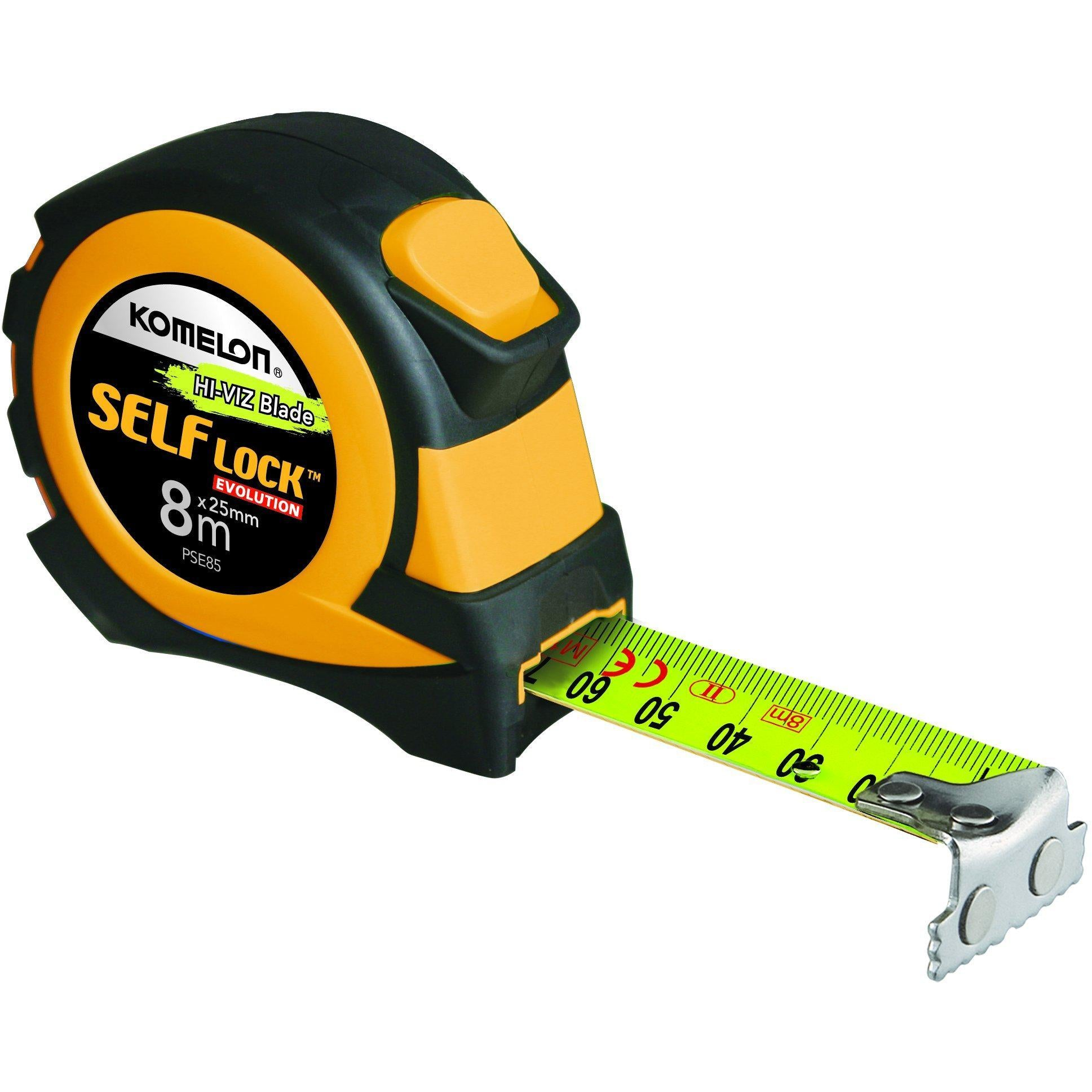 KOMELON Full Auto Self Lock High Viz 8mx25mm Tape-Tape Measure-Komelon-Herbos Equipment Limited