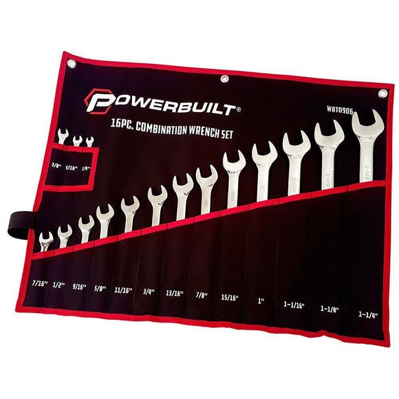 Powerbuilt 16Pc Imperial R&Oe Fully Polished Spanner Set